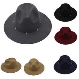 bb43fca931e New Autumn Winter Hats Caps for Women Fashion Lady Fedora Hat with diamond Female  Flat Wide Brim Jazz Caps Felt Trilby GH-223