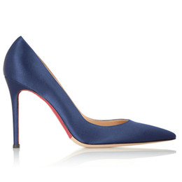 Wholesale Ladies Royal Blue Dress Shoes - 2016 Hot sell Ladies shoes Shallow Mouth Pointed Toe shoes Royal blue colors Stiletto Silk satin party&dress 12CM High heel women shoes