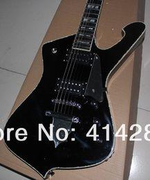 Wholesale Electric Guitars Abalone Binding - Custom ICEMAN Paul Stanley Electric Guitar Black Top Sivler Flame Shaped Tailpiece Abalone & White MOP Body Binding Inlay Chrome Hardware