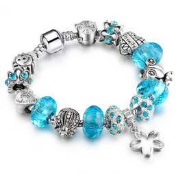 Wholesale Teardrop Crystal Bracelet - Elegant Gorgeous Bracelets with Charm Beads for Pandora Pendant Bracelets Different Color Bead Decoration for Women European Style Jewelry