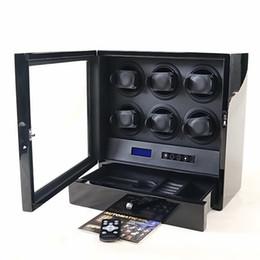 Control remoto inalámbrico táctil online-Luces LED de madera miran el devanador 6 motores caja de reloj Pantalla táctil El control remoto inalámbrico se detiene fácilmente al abrir la cubierta
