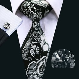 Wholesale White Cotton Necktie - Classic Tie Sets Ties for Men Floral Cotton Neckties Tie Hanky Cufflinks Sets Formal Business Wedding Party N-1375