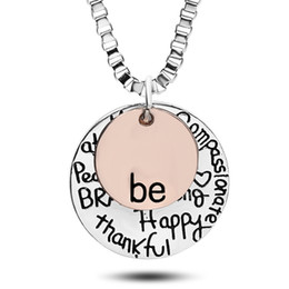 "Wholesale Strong Chain - 2016 Hot sell rose gold ""Be"" Graffiti Friend Brave Happy Strong Thankfull Charm Pendant Necklaces coin round letter jewelry whosale"