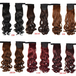 Wholesale Curly Ponytails - Sara 45cm 18inch magic stick wrap around ponytails kinky curly hair ponytail extensions clip in pony tail hairpiece Non-remy Hair Horsetail