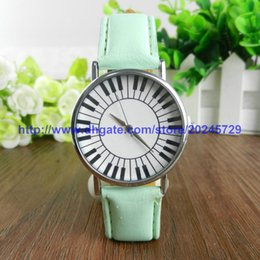 Wholesale Watch Piano - 2016 Piano Keys Watch Geneva Leather Watches Ladies Men's Watch Gift Custom Watch Musician Watches 100pcs lot