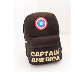 Wholesale Backpack Middle School - 2016 Captain America backpack double-Shoulder book Bags fashion Unisex canvas schoolbag middle school students backpacks