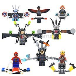 Wholesale Spiderman Blocks - Super Heroes Avengers Minifigures Ant-man Falcon Spiderman Captain America 8pcs lot Building Blocks Sets Model Bricks Toys