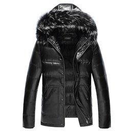 Wholesale Sheepskin Fox Fur Coat - Fall-Leather suede sheepskin down coat men genuine leather down coat fox fur hood leather down jacket top quality New Phoenix D999