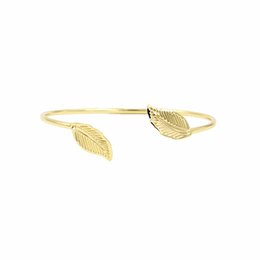 Wholesale Vintage Gold Filled Bracelet - Vintage Leaf bangles for women girls gold plated open Adjustable Bracelets New design fashion Bangles Jewelry for gifts