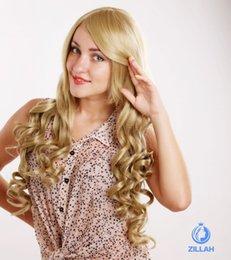Wholesale Kanekalon European - Free Shipping Hot Selling European and American COS wigs fashion blond curly Discount wigs 100% Kanekalon wigs
