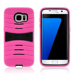 Wholesale Galaxy S3 Cell Phone Cases - Silicone+PC Robot Rugged Armor Hybrid Kickstand Cell Phone Protective Case For Samsung Galaxy S3 S4 S5 S6 Edge S7 Plus Cover Skin Shockproof