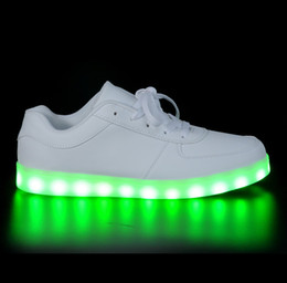 Wholesale Neon Casual Shoes - 2017 men light up led luminous shoes color glowing casual fashion with new simulation sole charge for women adults neon basket