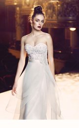 Wholesale Organza Blanca - 2016 Organza A-Line Wedding Dress With Hand Made Flowers Strapless Sweetheart Neckline Romantic 4713 Paloma Blanca Bridal Gown Abiti Da Spos