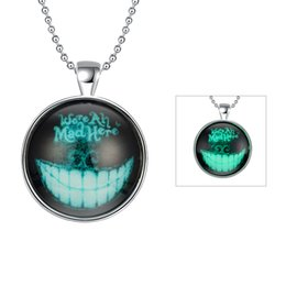 Wholesale Mens Locket Chain - NEW Fashion Mens Glowing Devil Tooth Pendant Necklace Silver Plated Round Glass Locket Necklace Glowing Luminous Halloween Jewelry