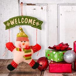Wholesale Christmas Door Decor Wholesale - Santa Claus Snowman Tree Door Christmas Decoration For Home Ornament Decor Hanging Pendant Christmas FEN#