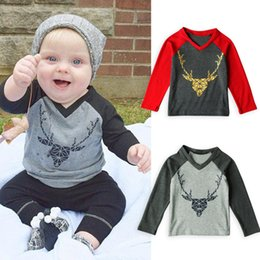 Wholesale V Neck Sweater T Shirt - baby christmas sweater long sleeves cotton t-shirt for children boys girls reindeer pattern patchwork tees fashion tops high quality clothes
