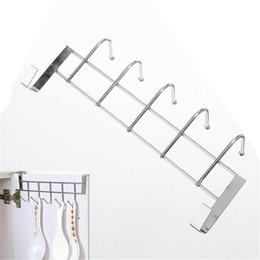 Wholesale Wholesale Towel Racks - Wholesale-5 Hooks Stainless Steel Over Door Home Bathroom Kitchen Coat Towel Loop Hanger Rack Holder Shelf High-Grade