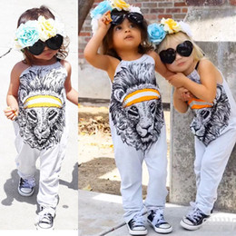 Wholesale Kids Costume Rompers - Girl Rompers Summer Cartoon Lion Print Girls Jumpsuit Baby Clothes 2017 Fashion Halter Cute Animal Toddler Romper Kids Costume Outfits
