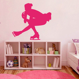 Wholesale Wall Decal Figures - Vinyl Sticker Sport Figure Skating Club Sports woman Dancing Skater Wall Decal Ice Skating School Children Room Decor Mural 57*57 cm