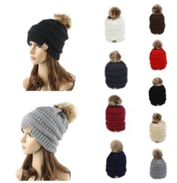 Wholesale Yellow Beanie For Sale - Hot Sale CC Label Fur Poms Beanie Winter Headware Knitted Cable Skull Caps Beanie Outdoor Hats for Women Men