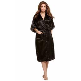 Le donne cinesi vestono stili online-All'ingrosso- Nero stile cinese donne accappatoi abito in seta Rayon Kimono Night Dress Mujere Pijama Plus Taglia S M L XL XXL XXXL