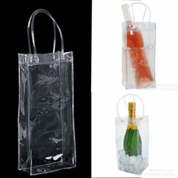 Wholesale Wholesale Plastic Foldable Water Bottles - Bag Gift Wine Beer Champagne Bucket Drink Ice Bag Bottle Cooler Chiller Foldable Carrier Favor Gift Festival Bags