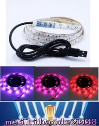 Wholesale Dc Power Mini Usb - 1M waterproof 5V 5050RGB Led Strip+mini controller+USB cable to power bank PC TV FREE SHIPPING MYY