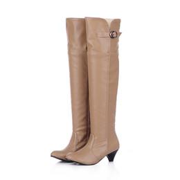 Wholesale Platform Heels 5cm - Boots PU thick heel with the knee-length 40 41 42 high heel 5CM Platform 1CM Thick heel EUR Size 34-43