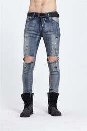 Wholesale Cheap Light Blue Jeans - 2016 Cheap Light Blue Ripped Skinny Jeans For Men Colorful Painting Knee Destroyed Style For Sale