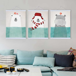 Wholesale funny pictures cartoon - 2 Panel Modern Kawaii Bear Hippo Picture Hipster Living Room Wall Art A4 Funny Animal Poster Prints Canvas Paintings Decor Gifts