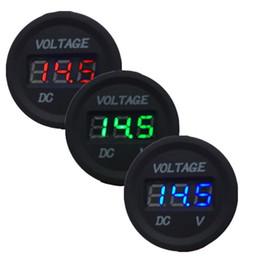 Wholesale Voltmeter Green - Professional Waterproof Gauge LED Digital Display Voltmeter 12V-24V Red Blue Green LED Light For Universal Car Motorcycle Measure 6V-36V