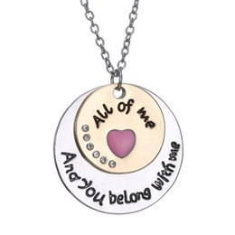 """Wholesale Couple String - Fashion Jewelry Necklaces """"All Of Me And You Belong With Me"""" Couple Vows Engraved Rhinestone Pendant Necklace Length 20"""" 150N07"""