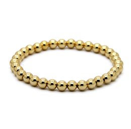Wholesale Real Gold Jewelry Bracelet - Hot Sale 1PCS 6mm Natural Stone Beads Jewelry Real Gold Plated Round Copper Beads Men's Bracelets Best Gift