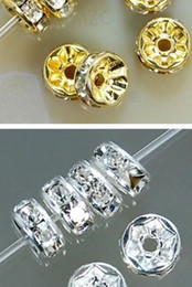 Wholesale Spacer 8mm - new good 400pcs lot white 8mm gold silver Plated Bead eah 200 pcs crystal Spacer Rondelle Spacer for bracelet hotsale DIY Findings Jewelry