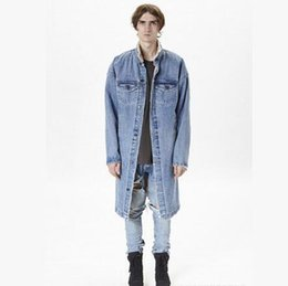 Wholesale Denim Trench - FOG FEAR OF GOD 2017 Newest men women Long Denim Jacket lambswool Streetwear Trench Coats Winter Wool Liner Windbreaker