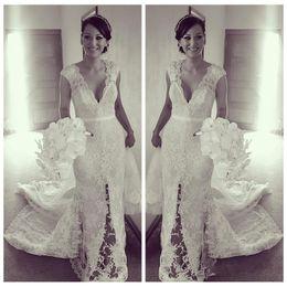 Wholesale Wedding Dresses Shoulder Online - V-Neck New Design 2017 Cap Shoulder Sleeveless Sheath Lace Wedding Dresses Slim Bridal Gowns Custom Online Slim
