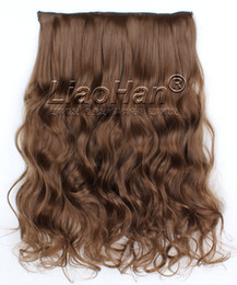 Wholesale Curly Synthetic Clip Extensions - Long Curly Light Brown Hair Clip in Synthetic Hair Extensions High Temperature Clip on Brown Hairpieces #6