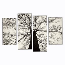 Wholesale Modern Oil Paintings Famous - 4 Picture Combination Famous Modern Paintings Black and White Winter Tree Oil Painting Spray Pain Art Home Wall Decoration