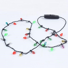 Wholesale Flashing Led Party Lights Necklace - LED Necklace Flashing Beaded Light Glowing Pendant Necklaces Toys Christmas Gift Party Favor Gifts CCA6936 100pcs