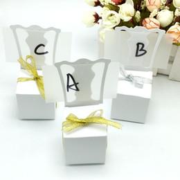 Wholesale Chair Card - Wholesale- 100pcs lots Chair Shape Place Card Holder Wedding Candy Box Gift Favour Boxes Wedding Bonbonniere Event Party Supplies