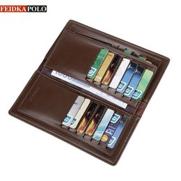 Wholesale Leather Cell Phone Note Holders - FEIDKAPOLO Brand Bag Men Wallet Leather Cluth Bag Long Wallets Man Coin Purse Passport Holder Mens Credit Card Holder Men Purses