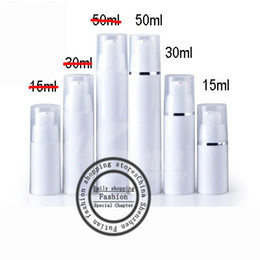 Wholesale used airless - Hot sale 20pcs lot,30ml PP Round airless vacuum pump lotion bottle with silver line used for Cosmetic Container
