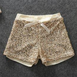 Wholesale Wholesale Bling Shorts - Hot Baby Girls Sequined Bow Short Pants Kids Girl Princess Bowknot Pant Girl Bling Causal Pant 2016 Babies Christmas clothing