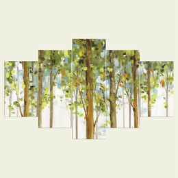 Wholesale Tree Picture Frames - (No frame) The trees two series HD Canvas print 5 Panel Wall Art Oil Painting Textured Abstract Pictures Decor Living Room Decoration