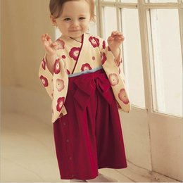 Wholesale Kids Kimonos - Kids Climb Clothes Long Sleeve Jumpsuit Rompers Girls Cute Red Kimono Fashion Bowknot Jumpsuits Baby One Piece Romper One Piece Clothing