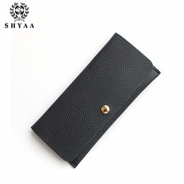 Wholesale Magnetic Photo Holders Wholesale - SHYAA New Lady Thin Wallet Leather Color Long Vertical Section Of MS Magnetic Buckle Long Purse Women Bags 10pcs lot drop shipping