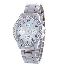 Wholesale Geneva Watch Bling - Scolour Luxury Geneva Bling Crystal Women Girl Unisex Stainless Steel Quartz Wrist Watch 3 Colors Wholesales for Christmas gift