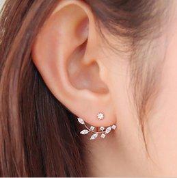 Wholesale Trendy Ear Cuffs - Hot Crystal Leaf Ear Jacket Earrings Gold Plated Back Cuff Stud Earrings for Women Statement Jewelry Ear Studs Free shipping