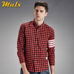 Wholesale Red Catalog - Wholesale- 2Colors Muls men plaid shirts catalog autumn winter long sleeve striped male shirts high quality cotton dress 4XL Gray Red 1855