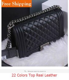 Wholesale Small Sequin Tote - 67086 LE BOY Bag V Shaped Genuine Leather Lambskin Flap Bag Silver Chain Tote Shoulder Crossbody Handbag